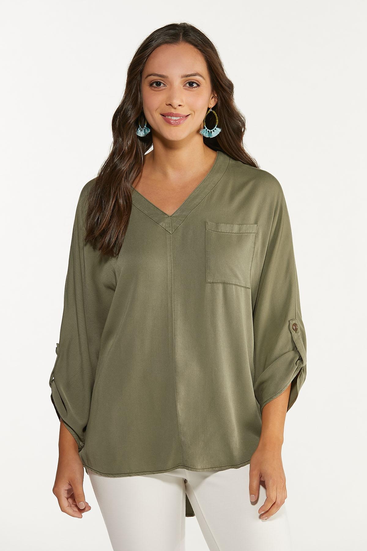 Olive High-Low Tunic