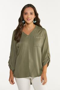 Plus Size Olive High-Low Tunic