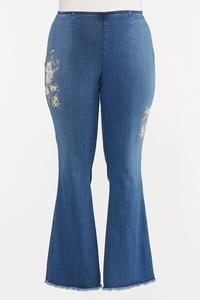 Plus Size Floral Embroidered Flare Jeans