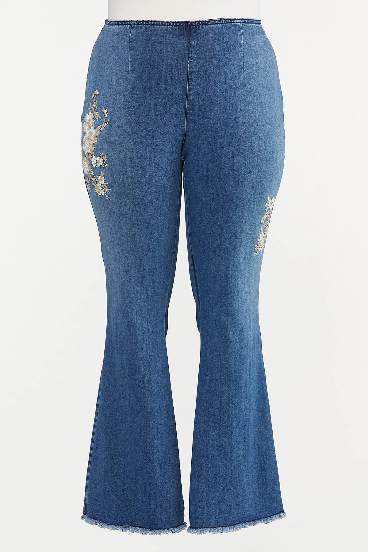 Plus Petite Floral Embroidered Flare Jeans
