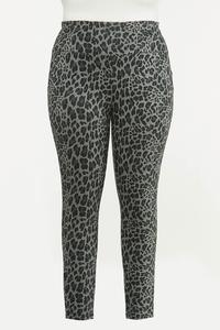 Plus Size Leopard Ponte Leggings