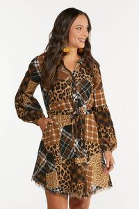Plus Size Mixed Patchwork Shirt Dress