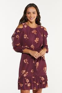Plus Size Flounced Floral Dress