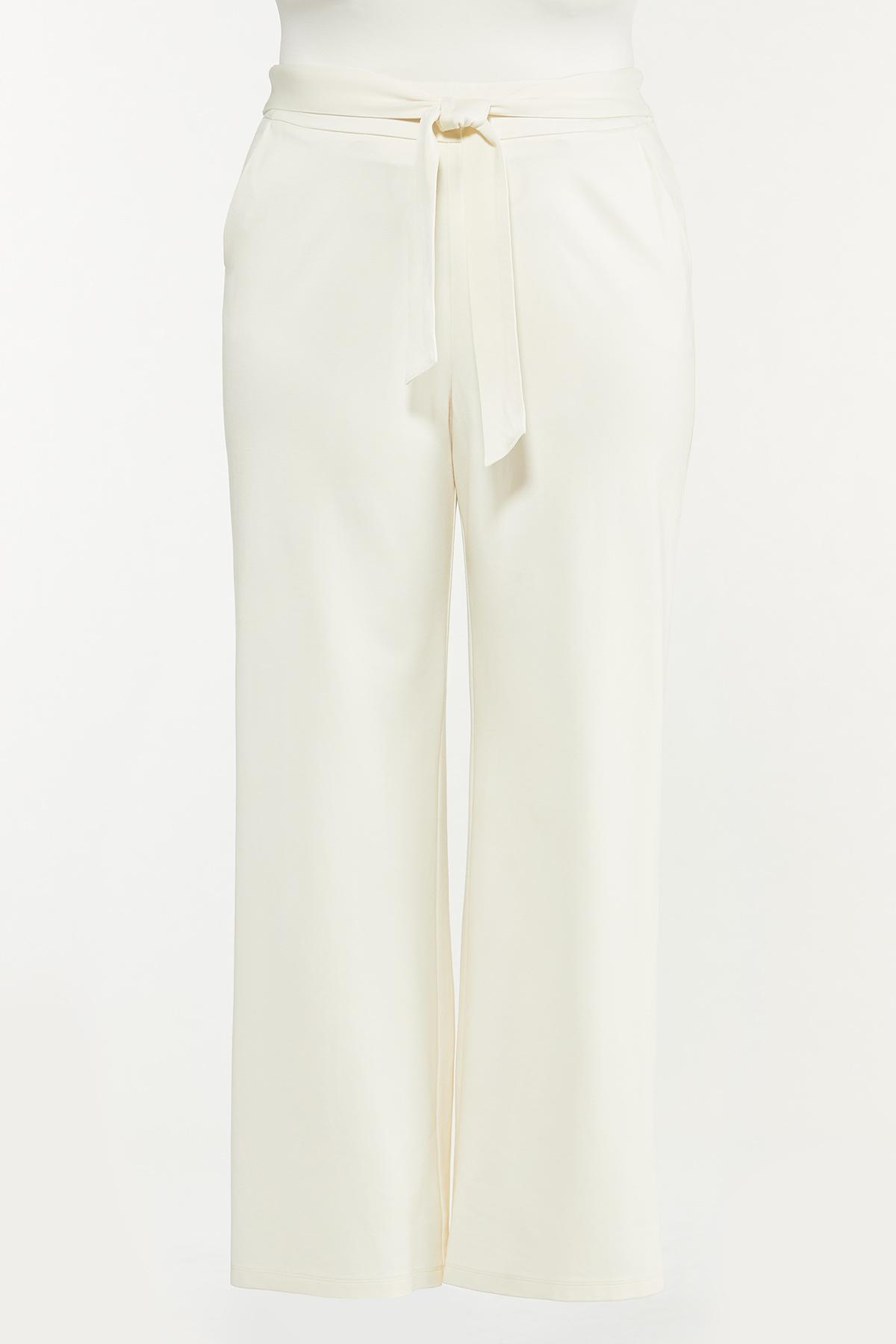 Plus Size Tie Waist Ponte Pants