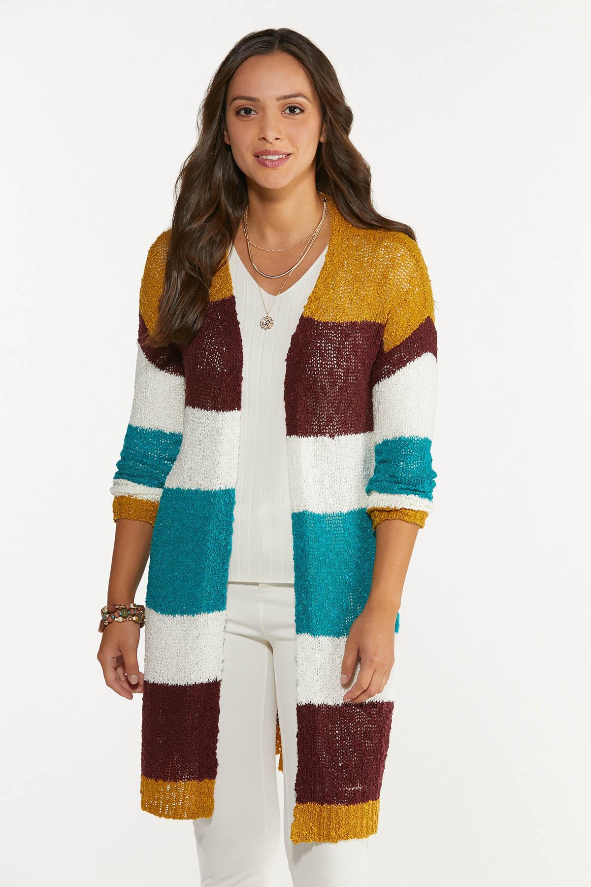 Plus Size Colorblock Cardigan Sweater
