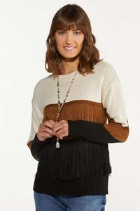 Fringe Colorblock Sweater