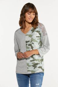 Plus Size Lacy Camo Colorblock Top