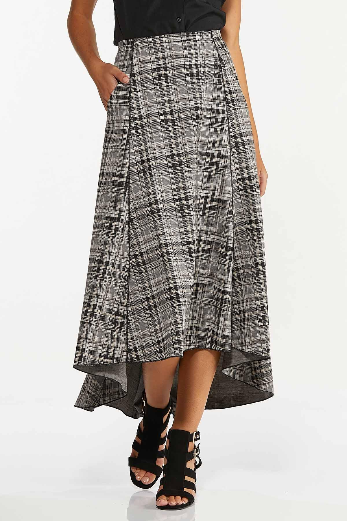Plus Size Plaid High-Low Maxi Skirt