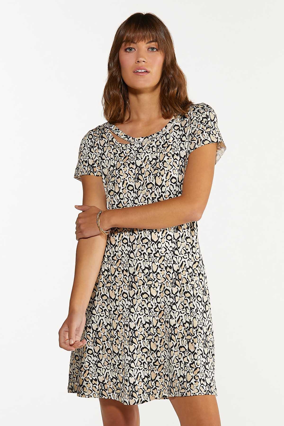 Plus Size Leopard Swing Dress