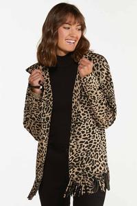 Plus Size Leopard Fringe Shacket