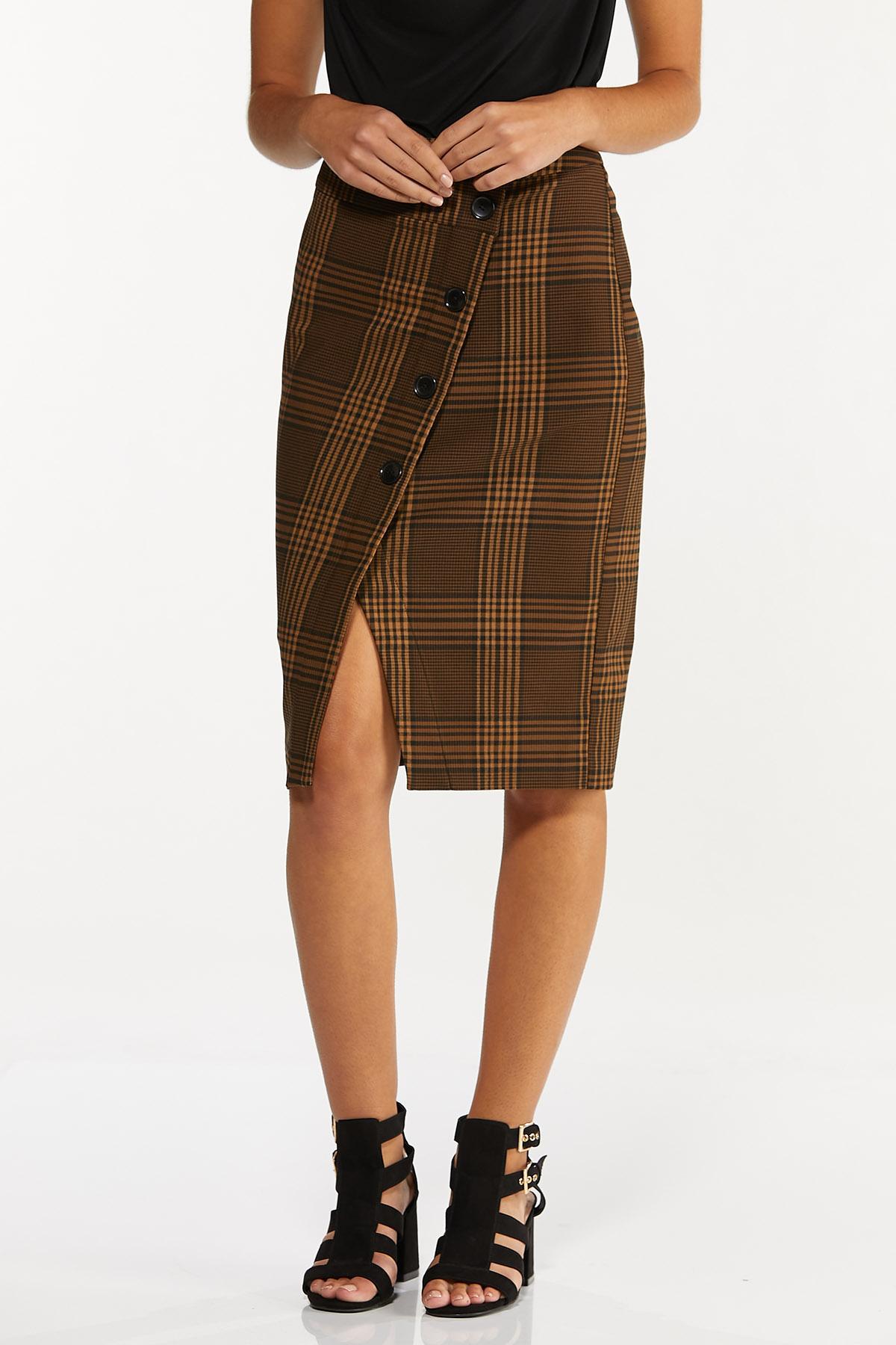 Plus Size Plaid Faux Wrap Pencil Skirt