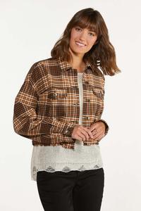 Plus Size Plaid Twill Jacket