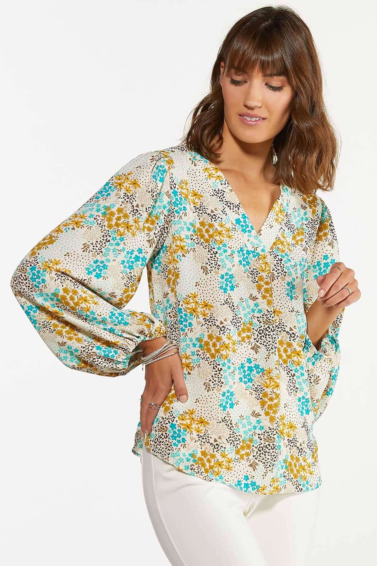 Plus Size Floral Fields Balloon Sleeve Top