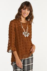 Plus Size Cocoa Textured Dot Top