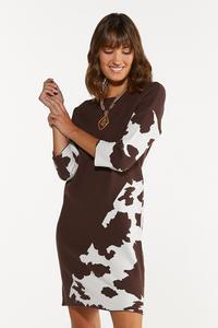 Plus Size Animal Colorblock Shift Dress