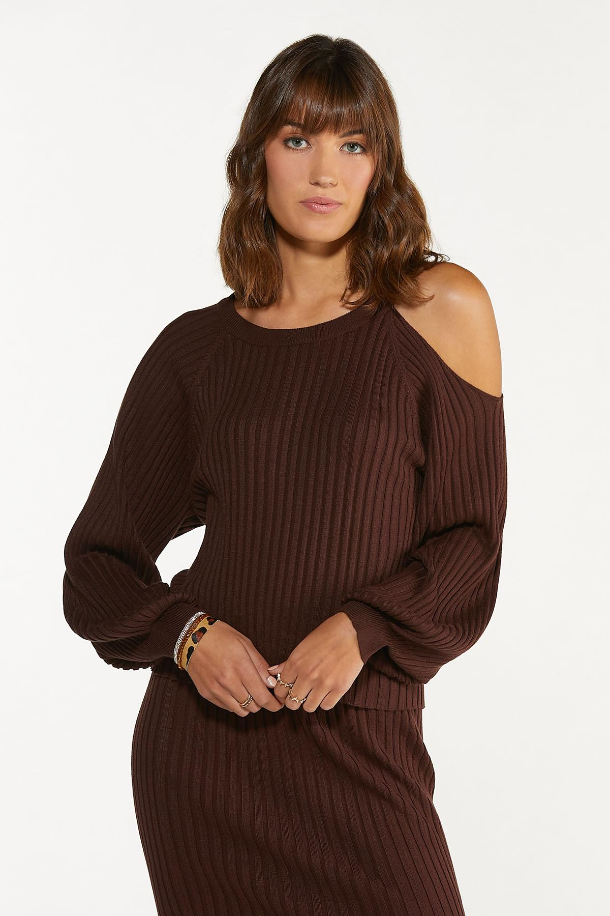 Plus Size Ribbed Cutout Shoulder Sweater