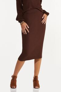 Plus Size Ribbed Sweater Skirt