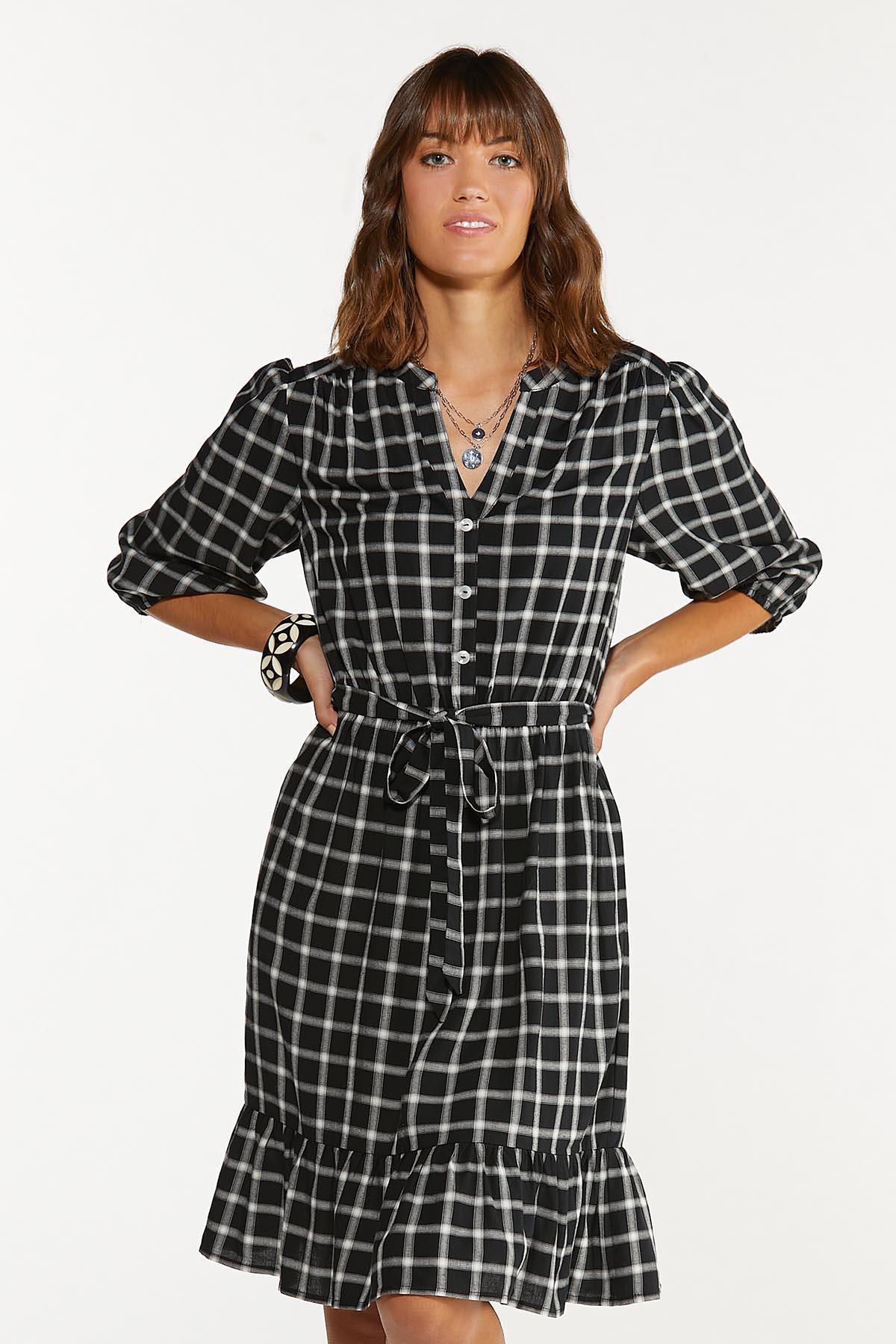 Plus Size Checkered Tie Waist Dress