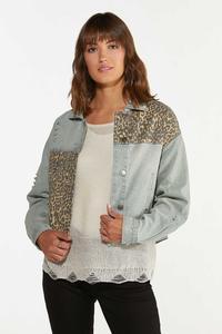 Leopard Patchwork Denim Jacket