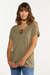 Olive Cutout Cold Shoulder Top