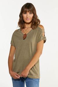 Plus Size Olive Cutout Cold Shoulder Top