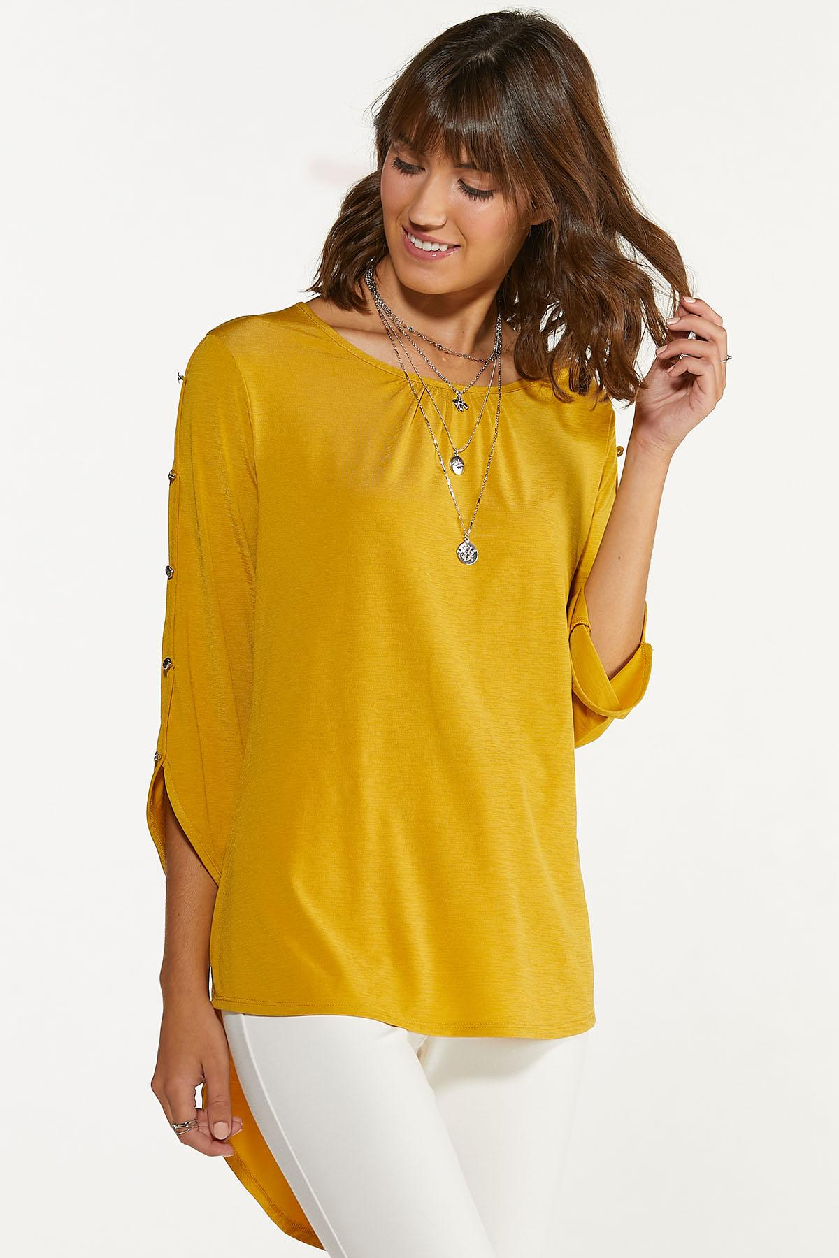 Plus Size Silver Button Sleeve Top