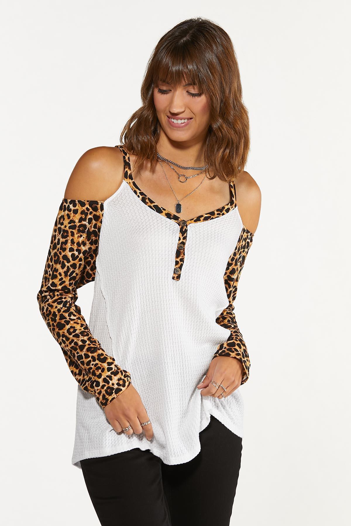Plus Size Leopard Cold Shoulder Waffle Top