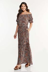 Plus Size Smocked Off Shoulder Maxi Dress