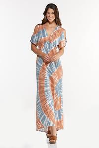 Petite Cold Shoulder Tie Dye Maxi Dress