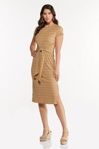 Striped Tie Waist Midi Dress