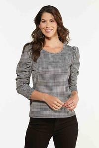 Houndstooth Puff Sleeve Top