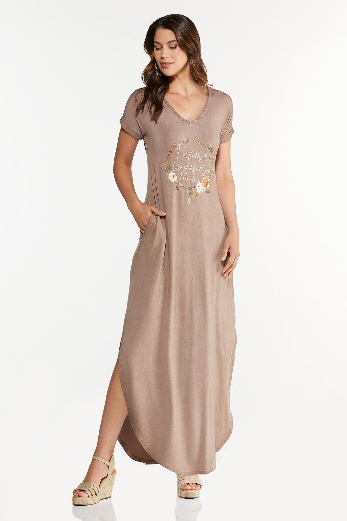 Plus Size Inspirational Shirt Maxi Dress