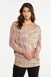 Plus Size Slouch Pink Plaid Top