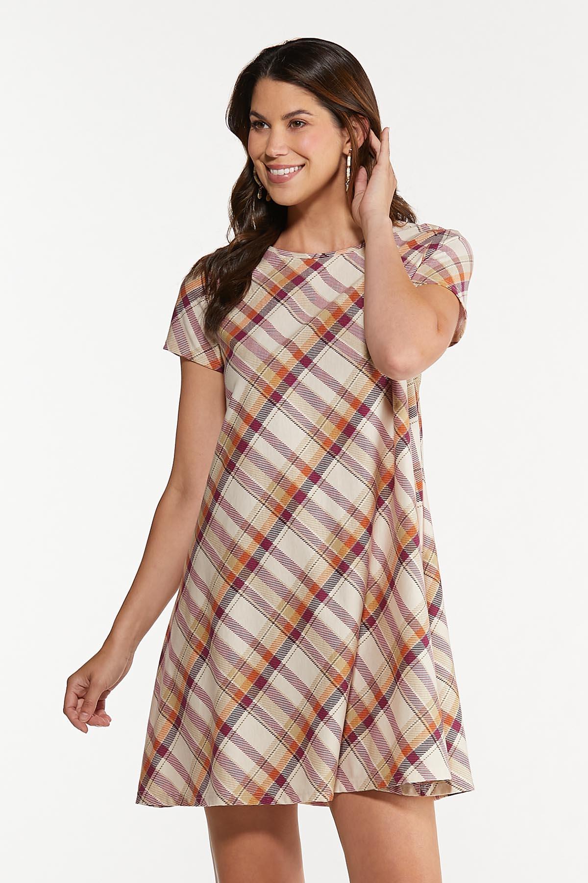 Plus Size Ombre Plaid Swing Dress