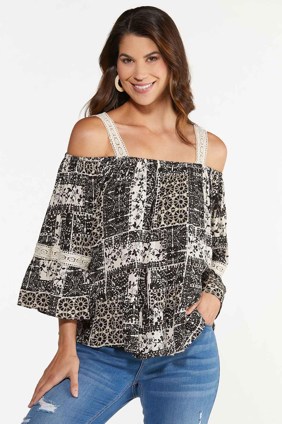 Plus Size Crochet Trim Poet Top