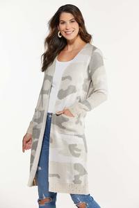 Plus Size Camo Cardigan Sweater