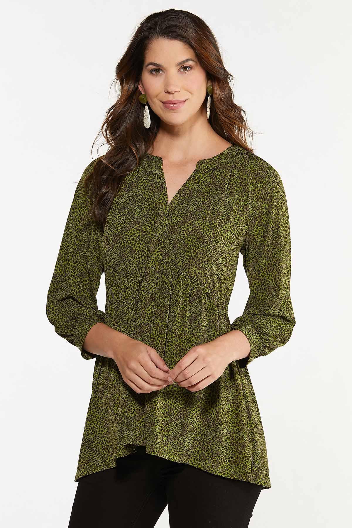 Green Animal Print Babydoll Tunic