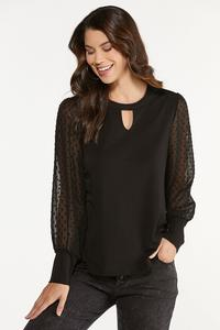 Plus Size Sheer Dotted Sleeve Top