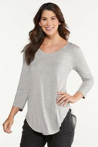 Plus Size Solid V-Neck Top