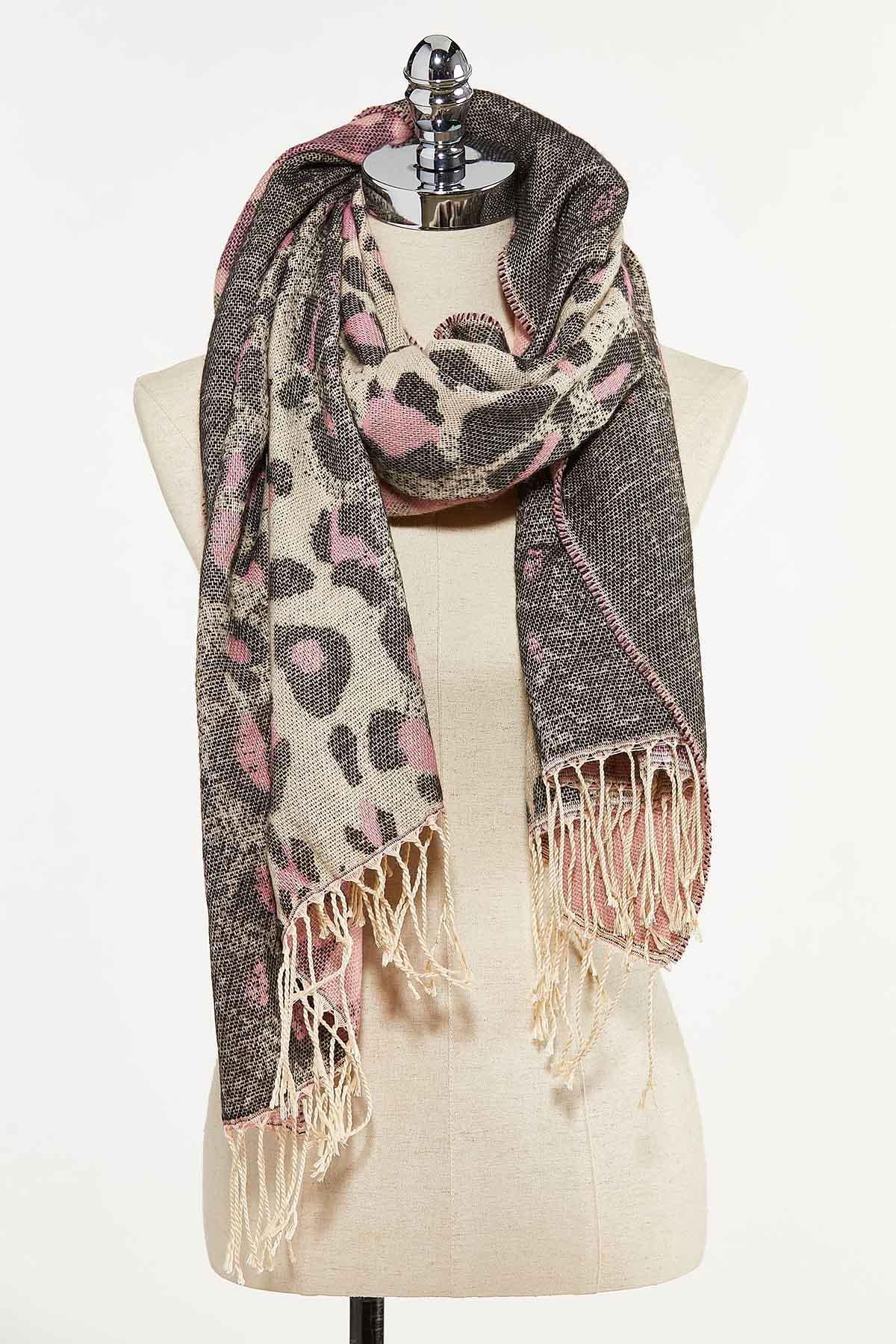 Pop Of Pink Leopard Scarf