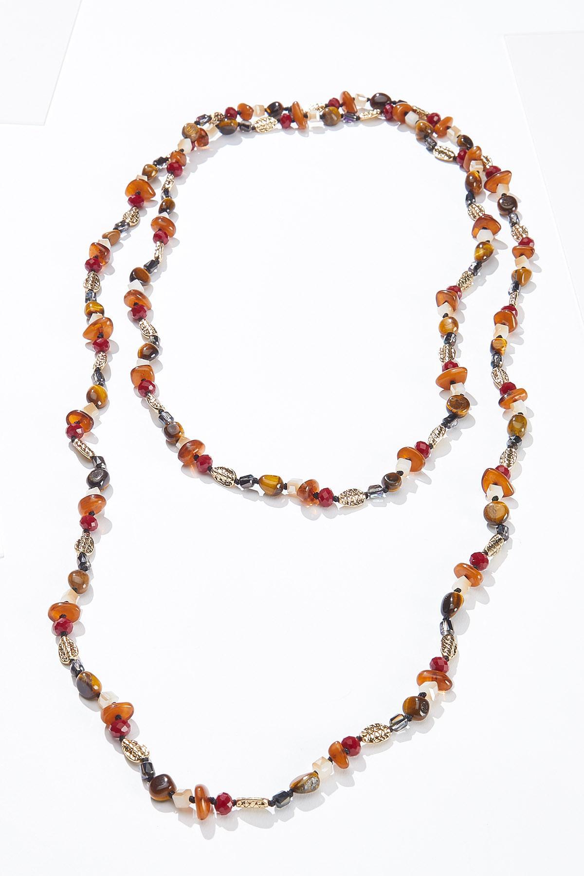 Long Multi Stone Necklace