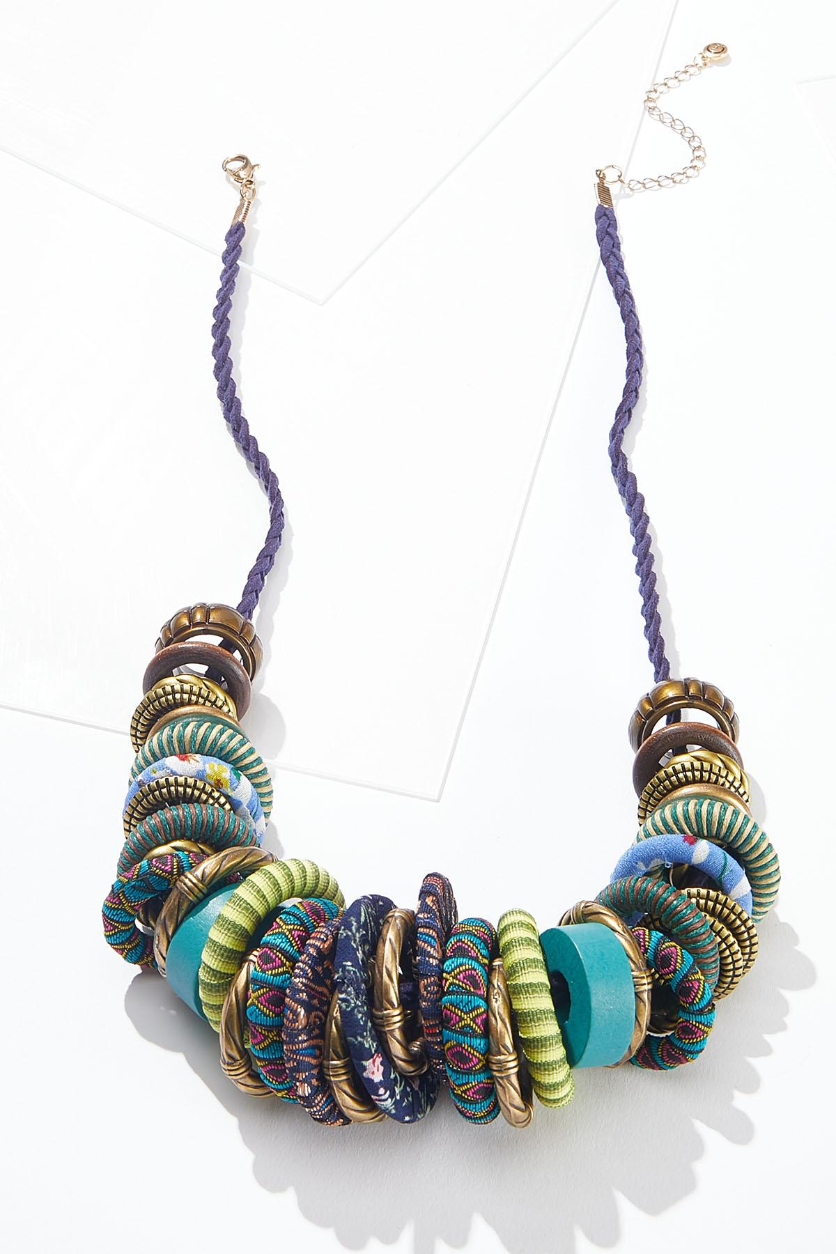 Fabric Wrapped Disc Necklace