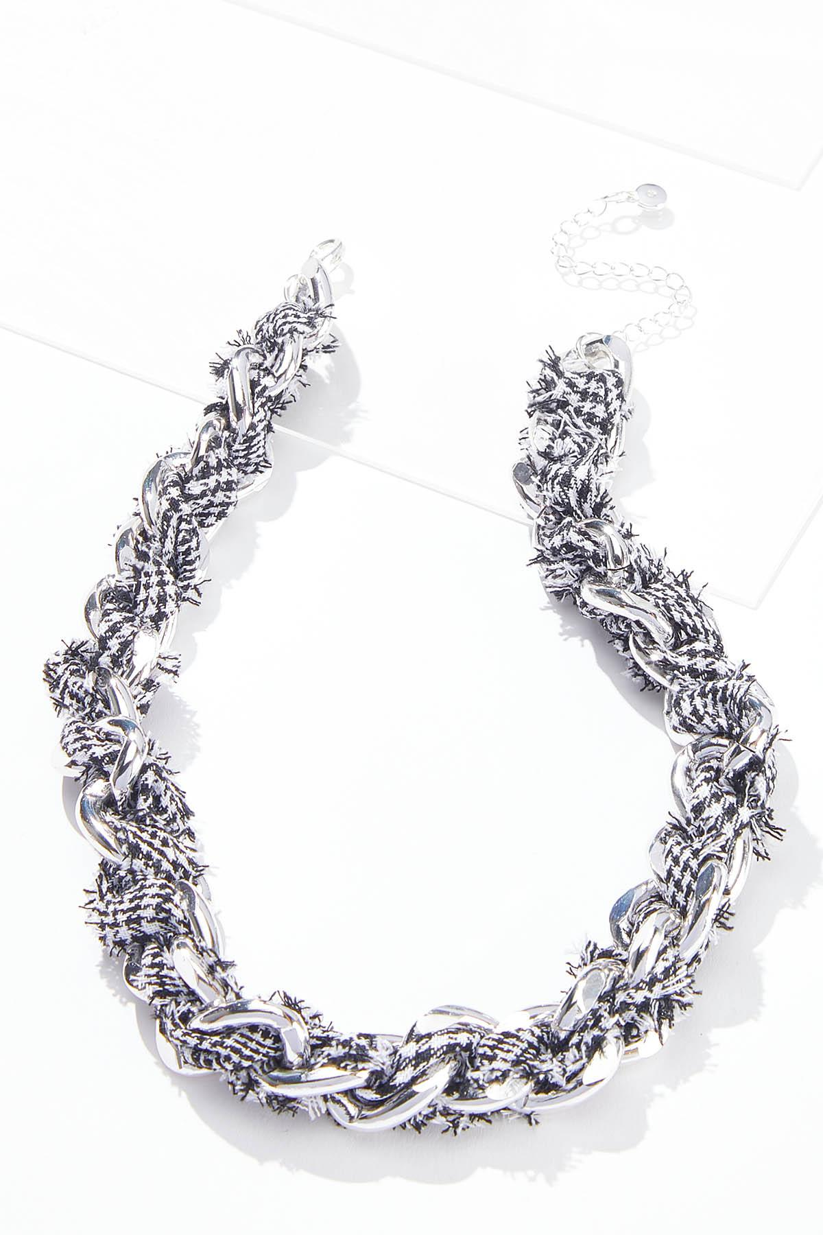 Houndstooth Fabric Chain Necklace