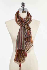 Stripe Tasseled Oblong Scarf