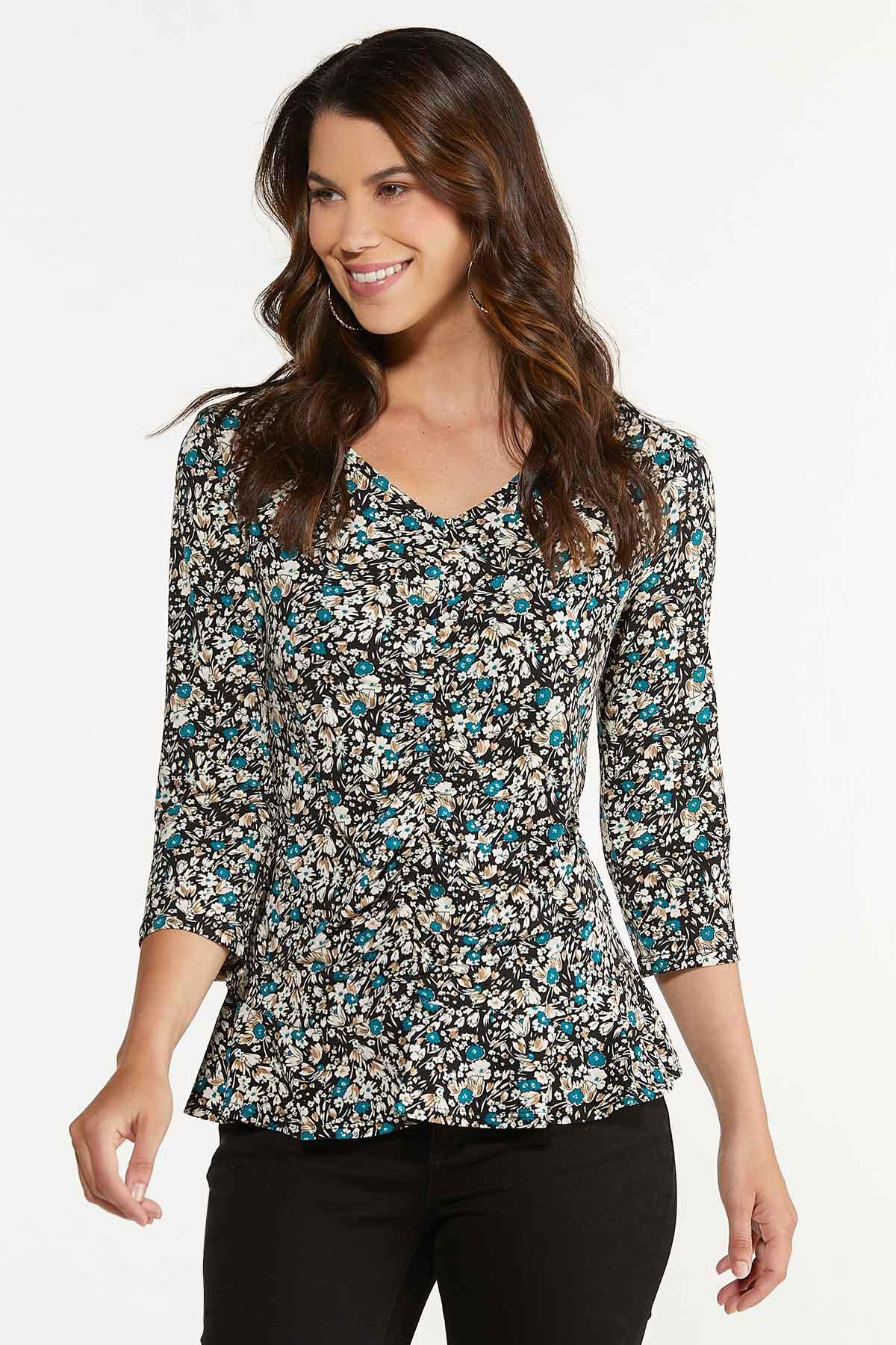 Plus Size Floral Ruched Front Top