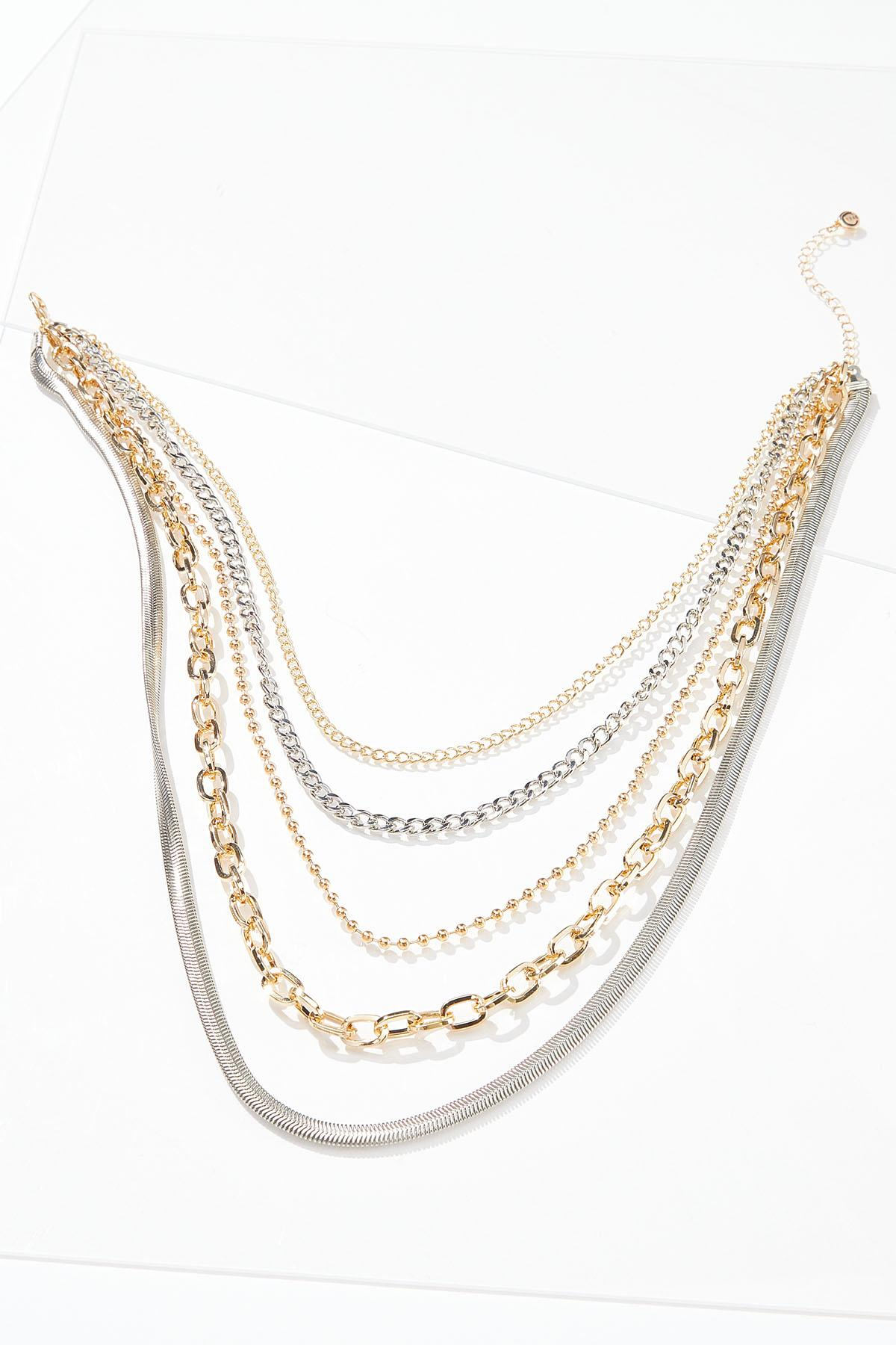 Layered Two-Toned Chain Necklace