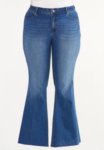 Plus Size Raw Edge Flare Jeans