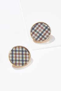 Plaid Button Clip-On Earrings