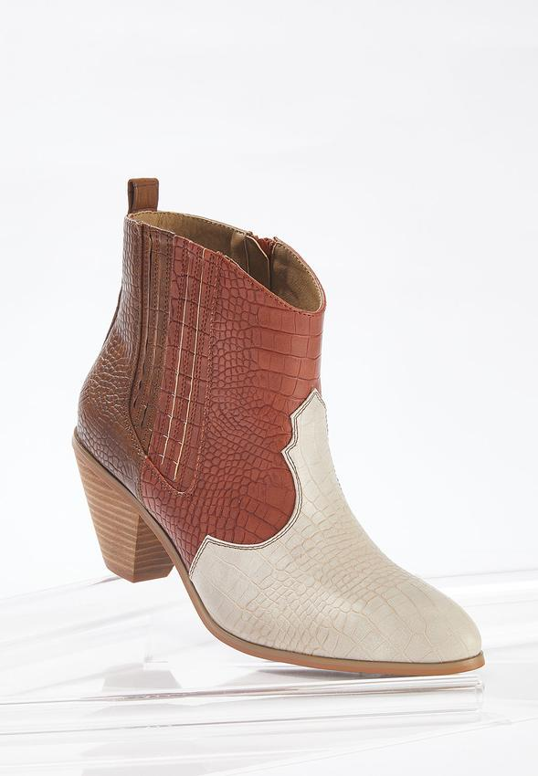 Wide Width Croc Western Ankle Boots