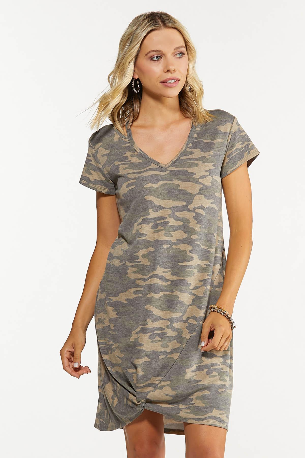 Plus Size Twisted Camo Dress